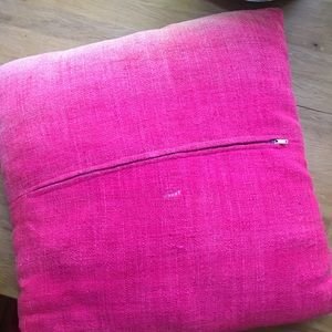 Vintage Accents - Vintage Linen Hot Pink Throw Pillow